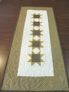 """Hand Made Quilted Table Runner/ Topper / Mat ~Gold/ Brown ~12.5"""" x 29"""""""