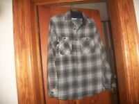 Mens Wrangler Flannel Gray Plaid Long Sleeve Button Front Shirt ~SZ SMALL~NWOT