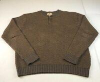 Vtg Woolrich Men's XL Brown LS Knit Pullover Sweater USA Made Cotton B
