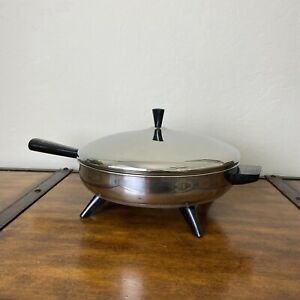 """Vtg Farberware Electric Skillet Stainless Steel Fry Pan 12""""Tested Model 310A USA"""