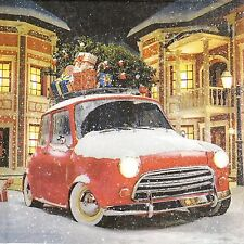 4x Paper Napkins-Christmas Car - for Party, Decoupage Craft