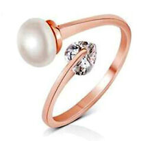 Women Jewelry 18K Rose GP Ring Open Ring Women Wedding Pearl Heart Adjustable