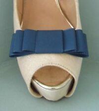 2 Hecho a Mano en Azul Marino Zapatos Arco Clips Para Tafetán Triple