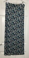 Oasis Maxi Jersey Skirt Size L Blues Beige Floral Long L42