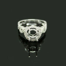 Solid Round 6mm White Gold 0.46Ct 14Kt Diamond Engagement Semi mount ring