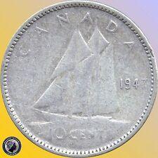 1947 1952 1953 1959 1961 & 1962 Canada 10 Cents (2.3328 grams .800 Silver Ea)