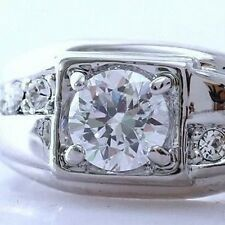 MANS+WOMENS 18K WHITE GOLD ON SILVER 1.6 CT SIMULATED MOISSANITE RING_SIZE 10.5