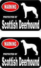 2 protected by Scottish Deerhound dog bumper home window vinyl decals stickers