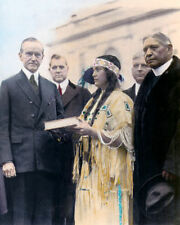 """PRESIDENT CALVIN COOLIDGE RUTH MUSKRAT 1923 8X10"""" HAND COLOR TINTED PHOTOGRAPH"""