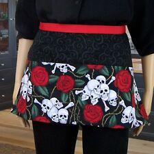 Skull and Roses Utility Pocket Apron Vendor Craft Waiter Server Goth Biker