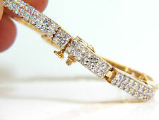 3.10CT DIAMONDS DECO WAVE LINK BRACELET 14KT YELLOW GOLD SPARKLE+
