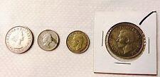 British , Great Britain, UK shilling, pence, George VI, Elizabeth,  4 coins lot