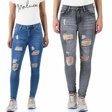 Malucas Damen Mid Waist Jeans Skinny Hose Stretch Röhrenjeans Mit Rissen Röhre