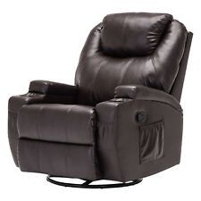Massage Recliner Sofa Leather Vibrating Heated Ergonomic Chair Lounge w/RC Brown