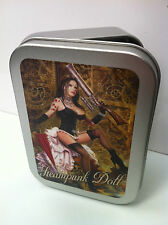 Steampunk Doll Gothic Girl Burlesque Cigarette Tobacco Storage 2oz Hinged Tin