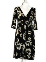 WALLIS size10 FIT & FLARE DRESS Black & white floral stretch jersey casual day