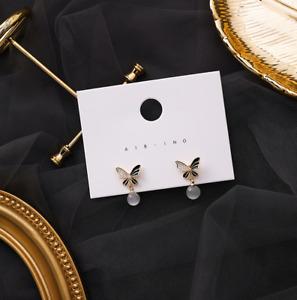 Gemstone Drop Butterfly Stud Earrings 925 Silver Ladies Fashion Jewellery Gift