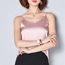Satin Silk Crop Top Camisole Womens Camis Tank Tops Sleeveless Blouse Summer