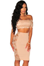 Abito ricamato top gonna pizzo nudo aderente Mini Lace Crop Top Skirt Set L