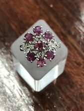 ESTATE - Sterling Silver Vintage Ruby & White Stone Cluster Ring - With Value