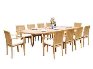 """11pc Grade-A Teak Dining Set 118"""" Oval Table 10 Lua Stacking Arm Chairs Outdoor"""