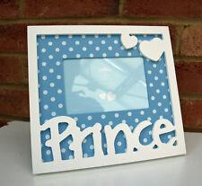 Prince Photo Frame 6x4 White Blue Polka Dot Boy Kid Heart Mantel Shelf New