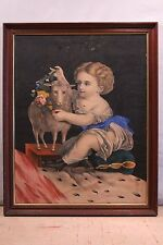 19thC Antique Victorian Lithograph Girl & Lamb INNOCENCE Print HENRY SCHILE?
