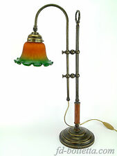 Lampada ottone brunito da tavolo,scrivania,comò,stile liberty con vetro slg2