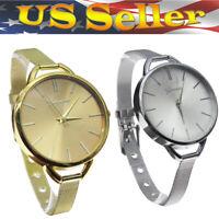 Women's Charm Ultrathin Stainless Steel Mesh Band Analog Quartz Wrist Watch Best