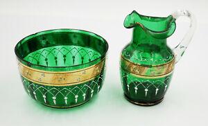 Antique Moser Bohemian Art Nouveau Green Gilded Enamelled Jug & Sugar Bowl
