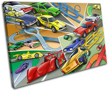 Racing Cars Boys For Kids Room SINGLE CANVAS WALL ART Picture Print VA