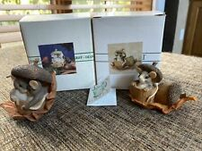 Set of 2 Dean Griff Charming Tails Figurines Caps Off to You & Acorn Built for 2