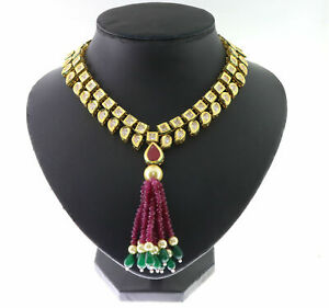 Traditional Cubic Zirconia Kundan Vintage Ruby Pearl Only Necklace 320 RN 4