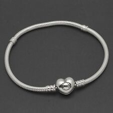 """NEW Authentic Pandora Sterling Charm Bracelet with Heart Clasp 19cm 7.5"""" 590719"""