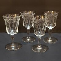 "Vintage Etched Cordial Glasses Stemware 5"" Tall Set of 4"