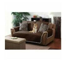 Home Details Quilted Reversible Furniture Protector Slipcover, brown