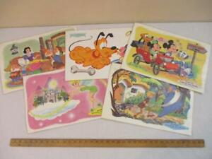 Set Of 5 Walt Disney Placemats 1960 Vintage Mickey Minnie Tinker Bell Donald Etc