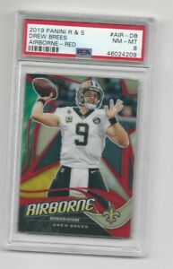 """Drew Brees 2019 Panini Rookies And Stars """"Airborne"""" Red Prizm Refractor # 72/75"""