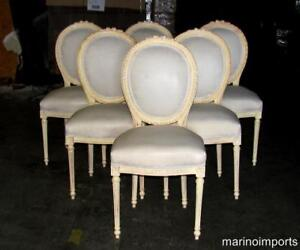 Six Stunning Painted French Louis XVI Dining Chairs Rosette Crest