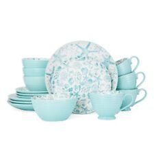 Coastal Seashells Beach Turquoise 16 Piece Dinnerware Set Plates Bowls Cups  sc 1 st  eBay & Stoneware Dinner Service Sets | eBay