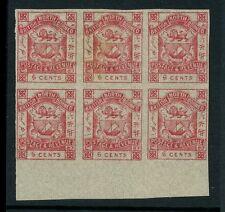 NORTH BORNEO 1888 SIX CENTS IMPERFORATE BLOCK of 6...SG42b...FOURNIER