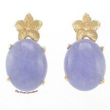 14k Yellow Gold Hawaiian Plumeria; Oval Cabochon Lavender Jade Stud Earrings TPJ