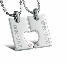 GirlZ! Love and Hope Couple lockable Pendant Necklace with chains (2 pieces)