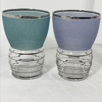 Vintage Frosted Textured Colored Cocktail Platinum Trim Glass Set 2