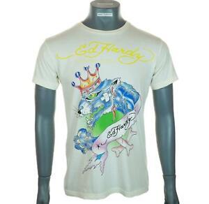 New Men's Authentic Ed Hardy T Shirt Christian Audigier Large Ivory Crew Neck