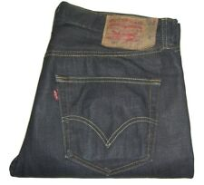 Mens Levi's 501 Dark Blue Rigid Denim Jeans W36 L32 Straight Leg