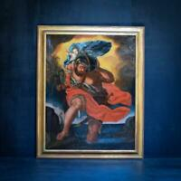 17th Century Maltese school painting of Saint Christopher with baby Jesus - oil