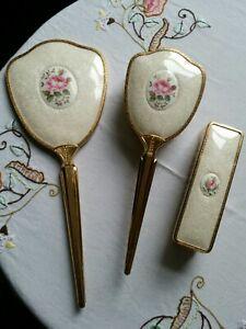 Vintage Vanity Set Gold Handle Pink Rose  Mirror hairbrush & clothes brush *