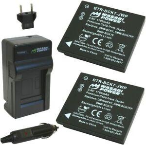 Battery (2-Pack) and Charger for Panasonic DMW-BCK7, NCA-YN101G,  DE-A91, DE-A92