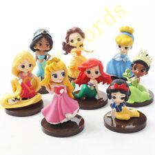 8 Pcs Disney Princess 8cm Figure Set Cake Topper Play Toy Doll Model Gift Belle